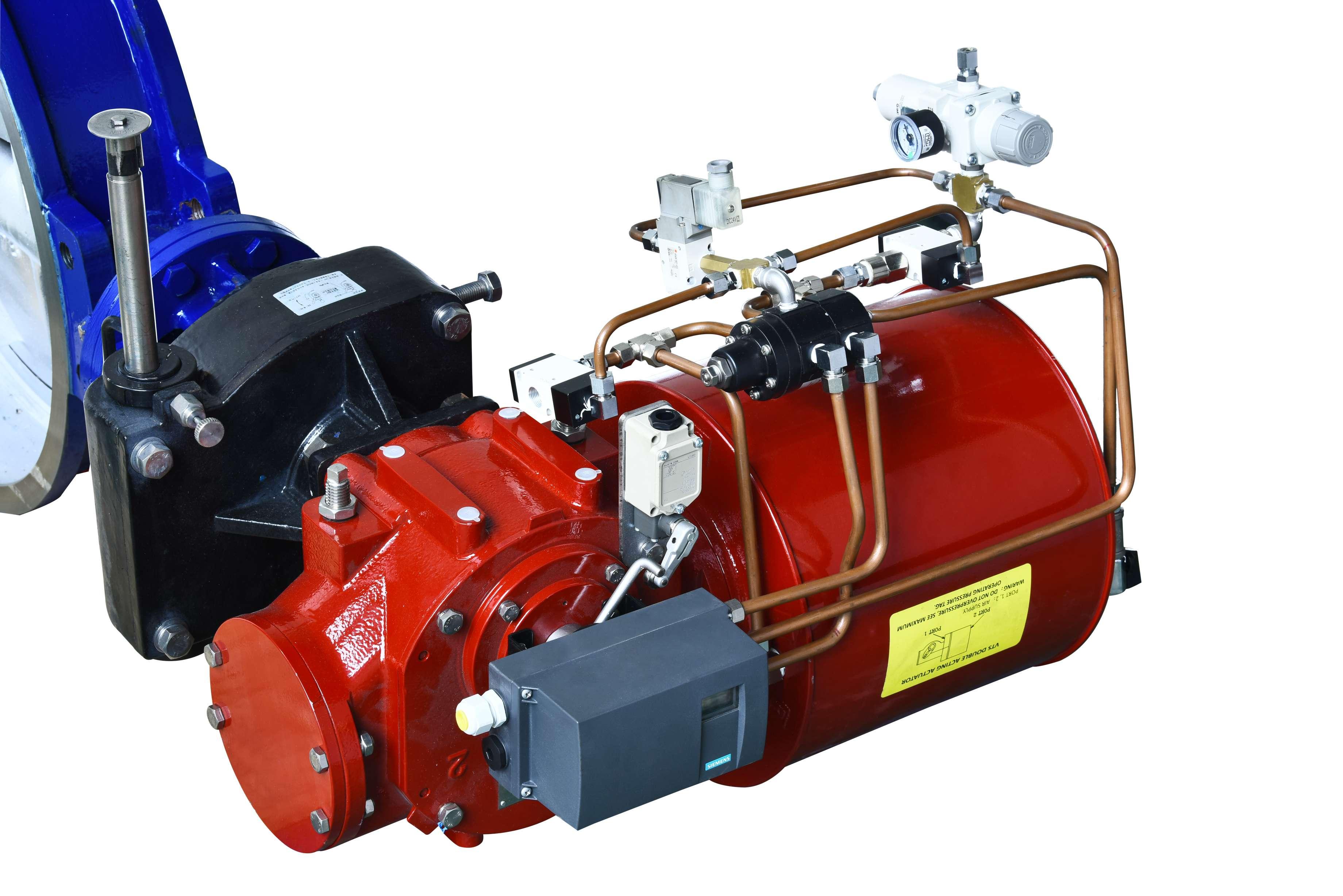 2#加热炉主管路煤气气动对夹式切断阀 GTZSSWm-10P DN800 PN10不锈钢阀体,密封采用四氟加不锈钢切片密封,阀板带自刮功能,配手动机构,智能定位器