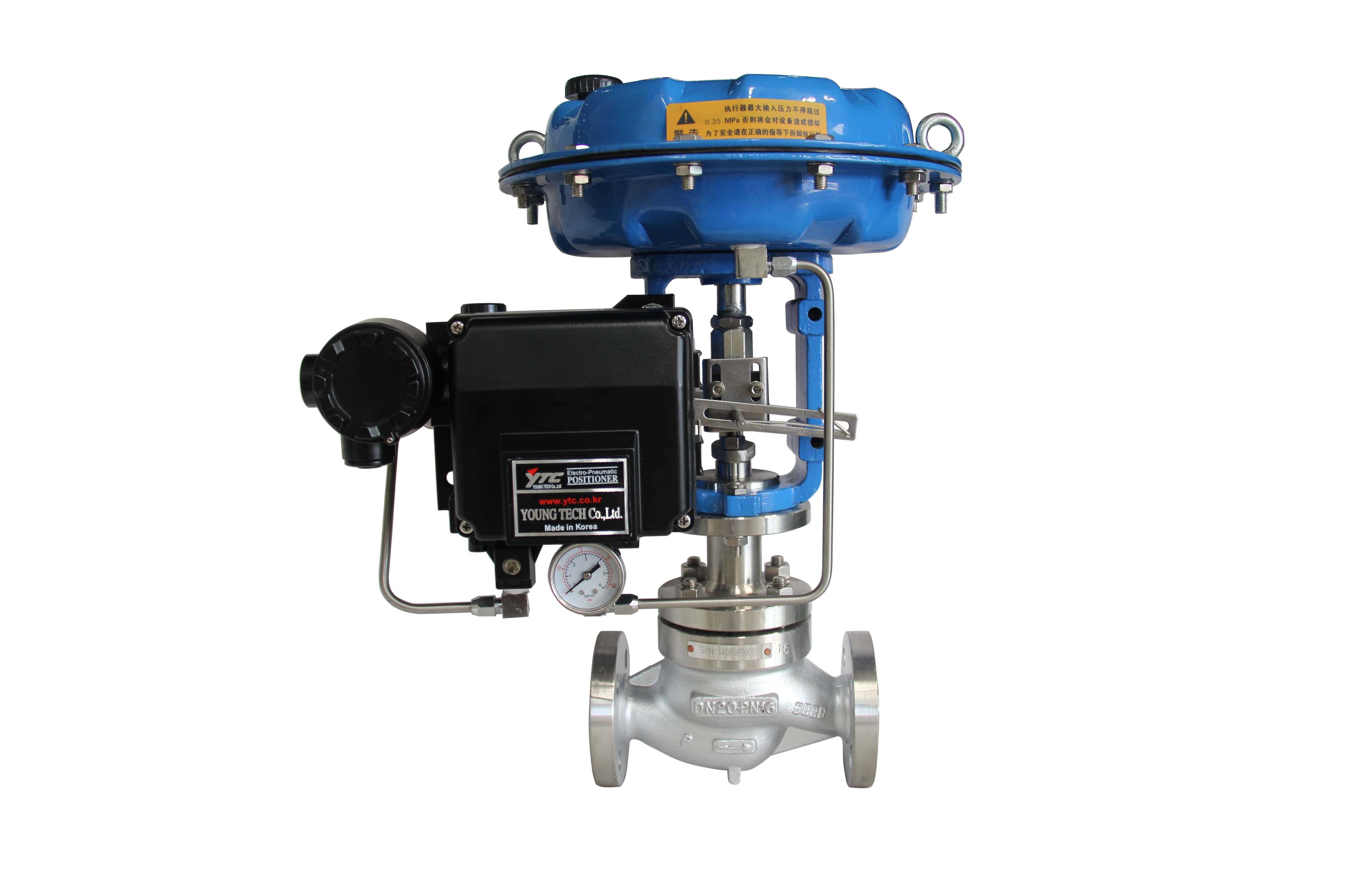 气动单座调节阀 GTZJHP-16C,DN25 阀体WCB 阀板304 带SMC-IP8100定位器,带空气过滤器