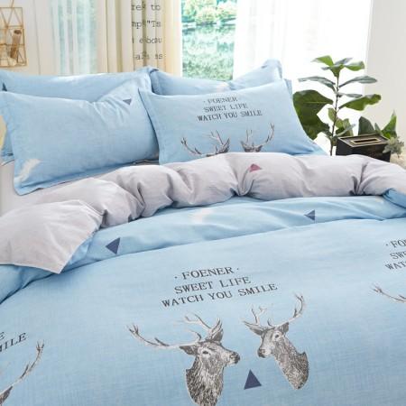 床上用品 四件套 约克罗兰  全棉斜纹印花套件—鹿屿北巷(蓝)