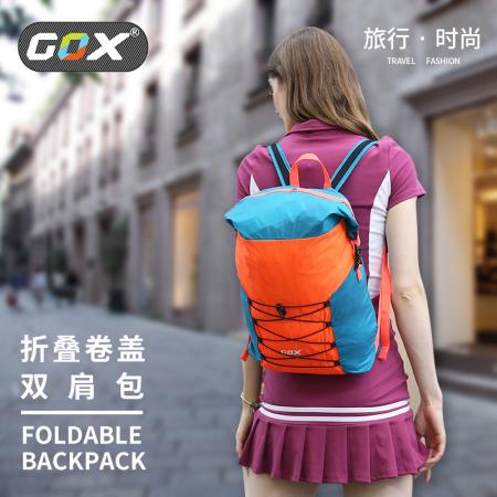 GOX 折叠卷盖双肩包 户外旅行休闲手提运动背包轻薄大容量