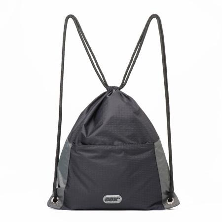 GOX运动健身包 防泼水束口袋 折叠抽绳背包 薄款便携双肩包女学生 休闲户外旅行尼龙收纳袋
