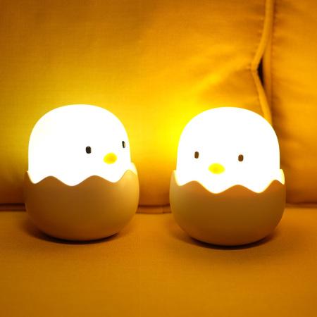 创意小鸡硅胶蛋壳灯拍拍小夜灯卧室充电婴儿喂奶护眼睡眠床头台灯