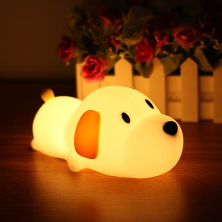 抖音创意梦幻呆呆汪伴睡卡通节能小夜灯充电调光 小狗硅胶 灯1个