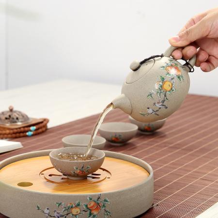 事事如意成套茶具 中式茶具带茶盘茶海1个,茶壶1个,杯子4个,竹盘1商务礼品馈赠礼物
