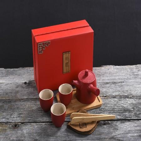 1+3红陶茶具 茶壶陶瓷功夫茶过滤玲珑侧把壶 商务礼品 馈赠 户外旅行茶具 便携式 小满如意