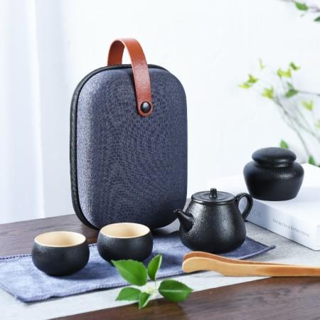 黑陶旅行功夫茶具套装 商务礼品馈赠随手礼一壶四杯便携式随身包快客杯泡茶壶(一壶四杯)旅行茶具