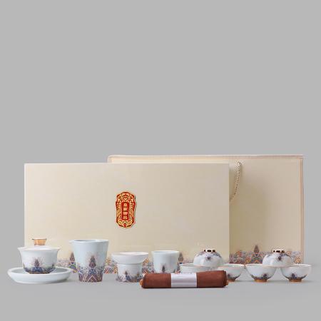 金丝珐琅彩功夫茶具 陶瓷茶具套装珐琅彩整套茶杯盖碗茶海家用办公室礼盒装功夫茶具 商务礼品馈赠