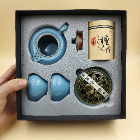茶具套装蓝釉香道茶具商务礼品馈赠套装陶瓷家用办公室快客杯一壶二杯(月牙壶)(香炉、壶、杯、檀香)