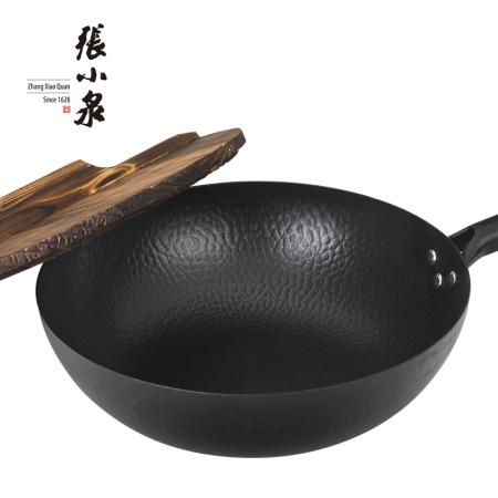 张小泉 匠艺老铁锅 C30240100 圆形木锅盖32cm 无烟不沾 熟铁铸造 健康环保无涂层