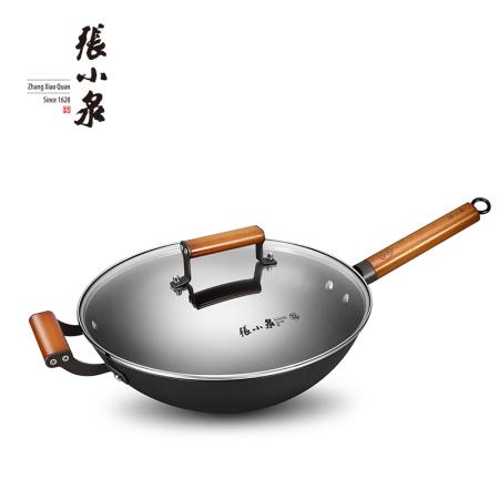 张小泉 真不锈铁铸炒锅 铁锅 C30210100 钢化可透视锅盖 32cm 煎/炒/炸/煮一锅多用